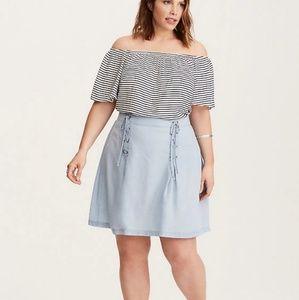 Torrid Light Wash A-line Denim Lace up Skirt